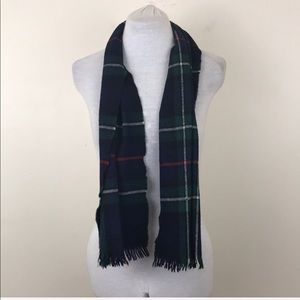 Vintage Baltman & Co Plaid 100% Lambs Wool Scarf